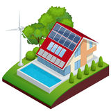 Green House vector concept. Isometric vector composition of small house royalty free illustration