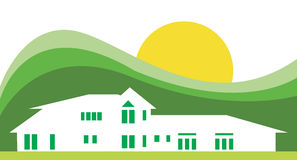 Green House. Vector illustration of a house in green and white color Royalty Free Stock Images