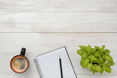 Green houseplant, cup of coffee, empty notebook and pencil in top view with copy space. Stock Photo