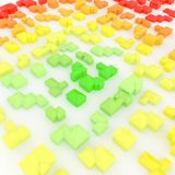 Green houses. Aerial view of group of simple models of colourful houses vector illustration