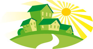 Green houses. Real Estate or Construction Icon stock illustration