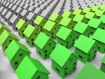 Green houses illustration. 3D render illustration of multiple green colored houses arranged in a rectangular pattern along with grey houses. The image can be royalty free illustration