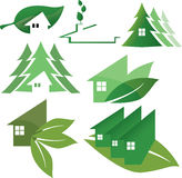 Green houses. Illustration of green ecology house logos vector illustration