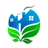 Green houses. Nature friendly houses symbol with green leaves vector illustration