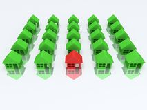 Green houses and red one. 3d render. Real estate, rent, building, out of crowd home concept. Green houses and red one with reflection. 3d render icon stock illustration
