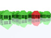 Green houses and red one. 3d render. Real estate, rent, building, out of crowd home concept. Green houses and red one with reflection. 3d render icon royalty free illustration