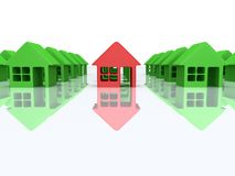 Green houses and red one. 3d render. Real estate, rent, building, out of crowd home concept. Green houses and red one with reflection. 3d render icon vector illustration