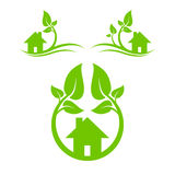 Green houses set. Abstract symbol of green house with leaves. eps10 vector illustration