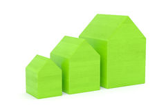 Green houses. Set of green wooden houses over white isolated background stock illustration