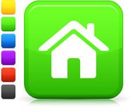 Green housing icon on square internet button Stock Photography