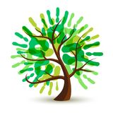 Green human hand print tree for ecology help. Green tree with human hand print art. Eco friendly concept illustration for environment help, nature care or royalty free illustration
