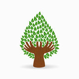 Green human hand tree concept illustration Stock Photography