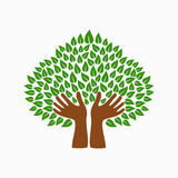 Green human hand tree symbol for community help Stock Images
