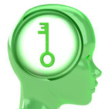 Green human head with brain cloud with key to life inside Royalty Free Stock Images