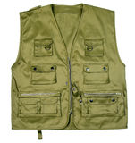 Green hunter vest. Isolated on white stock photos