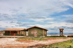 Green huts in Kalogria Stock Photo