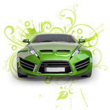 Green hybrid car. On an abstract floral background. Non-branded concept car Royalty Free Stock Photography