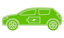Green hybrid car icon. Electric powered environmental vehicle. Contour automobile with battery sign. Stock Images