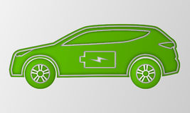 Green hybrid car in paper art style. Electric powered environmental vehicle. Contour automobile with battery sign. Stock Photo