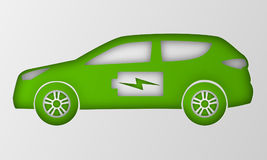 Green hybrid car in paper art style. Origami electric powered environmental vehicle side view. Automobile battery sign. Royalty Free Stock Image