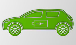 Green hybrid origami car in paper art. Electric powered environmental vehicle. Contour automobile with battery sign. Royalty Free Stock Photos