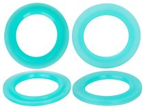 Green hydraulic and pneumatic o-ring seals isolated on white background. Rubber rings. royalty free stock photography
