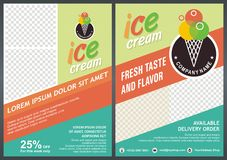 Green - Ice Cream Flyer / Brochure back & front Template Design Stock Photo