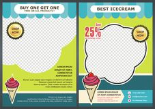 Green Ice Cream Flyer / Brochure back & front Template Design Stock Photo