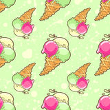 Green ice-cream pattern Royalty Free Stock Photography