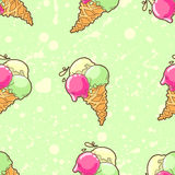 Green ice-cream pattern Stock Images
