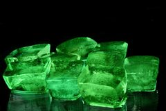 Green ice cubes Royalty Free Stock Photo