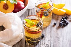 Green iced tea with nectarines and blueberries. Green iced tea with fresh nectarines and blueberries stock photo