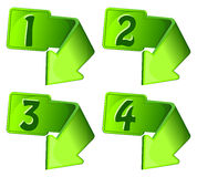 Green icon with arrow and numerals. Vector illustration Stock Photos