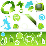 Green Icon buttons Stock Images
