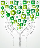 Green icon flat hands design Royalty Free Stock Photos