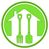 Green icon with gardening tools Royalty Free Stock Photography