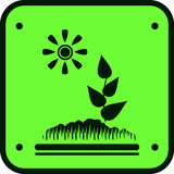 Green icon with ground, sun and sprout Royalty Free Stock Images