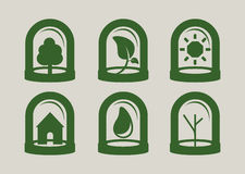 Green icon set Stock Photo