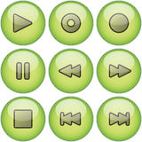 Green icon set. Set of green, 3D icons related to audio or video playback or recording controls Royalty Free Stock Photo