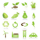 Green icon set Stock Images