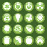 Green icon set. Great idea of environmentally friendly concept icons for your website, powerpoint, leaflet etc Royalty Free Stock Images
