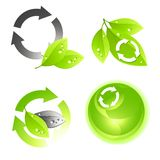 Green Icon Set Stock Photos