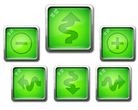 Green icon set of glassy navigation buttons Royalty Free Stock Photos