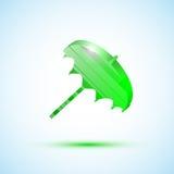 Green icon umbrella Stock Image