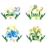 Green icons Stock Photos