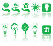 Green icons. Different forms of green icons, illustration Royalty Free Stock Images