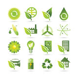 Green Icons. An illustration of 16 Green Earth friendly icons depicting recycling, and alternative energy concepts