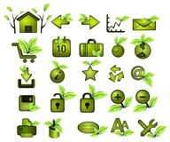 Green icons. Collection of green eco web icons Stock Image
