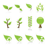 Green icons. Set of 12 environmental green icons for your design idea Stock Images