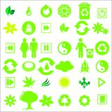 Green icons. Illustration of a set of ecological icons royalty free illustration